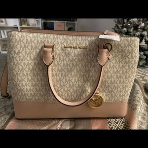 NEW Michael kors logo print soft pink and cream